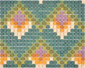 GLASMOSAIK Nachbildung grün matt Mosaikfliese Wand Fliesenspiegel Küche Bad MOS140-RO2_f