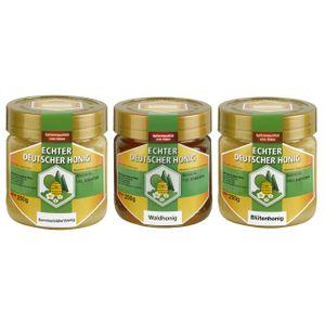 Echter Deutscher Honig. Das Probierset aus 3x250g Waldhonig, Sommerblütenhonig und Blütenhonig. Geschmacksvielfalt eines ganzen Bienenjahres.