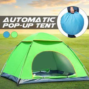 2-3Personen Wurfzelt Trekkingzelt Campingzelt Automatik Strandzelt Wasserfest -Green