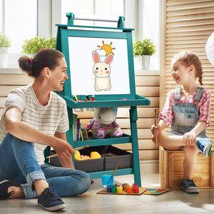 GOPLUS 3 in 1 Standtafel für Kinder, Magnetisches Whiteboard & Kreidetafel, Doppelseitiger Staffelei mit Aufbewahrungsbox, Maltafel, Schreibtafel, Kindertafel Ink. Malpapier und Magneten (Blau)