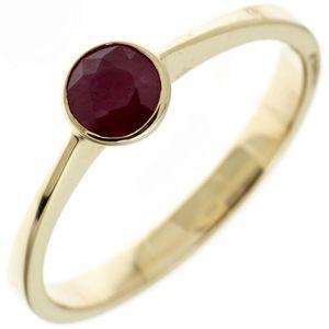 JOBO Damen Ring 333 Gold Gelbgold 1 Rubin rot Goldring Größe 52