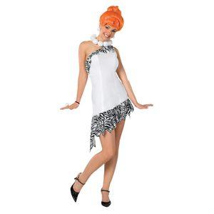 The Flintstones Wilma Feuerstein Damenkostüm Lizenzware weiss-schwarz-orange