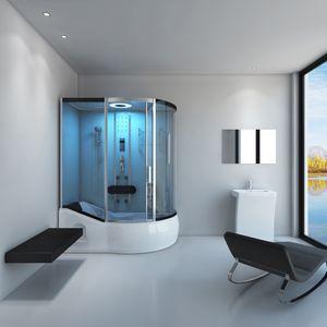 HOME DELUXE - Badenwanne inkl. Dusche ALLIN 4in1 Weiß (rechts) Duschkabine Duschtempel Komplettdusche