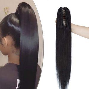 S-noilite Ponytail Extension Echthaar Pferdeschwanz Zopf Clip in Haarteil Haarverlängerung 100% Remy Haar mit Klammer Schwarz 45 cm