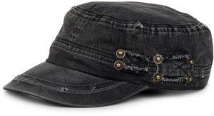 styleBREAKER Military Cap im washed Destroyed used Look, Vintage, Risse und Löcher, verstellbar, Uni 04023011, Farbe:Schwarz