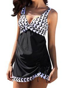 Plus Size Damen Badeanzug + Shorts Hosenträger V-Ausschnitt Tankini Set Zweiteiliger Beachwear,Farbe:Schwarz,Größe:XL