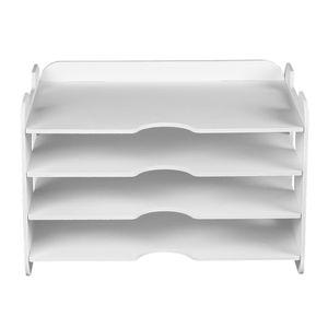 4-Fach Briefablage Ablagefächer Dokumentenablage Schreibtisch Organizer für Zuhause Büro, Rechteckig, Weiß