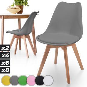 MIADOMODO® Esszimmerstühle 2er 4er 6er 8er Set - Skandinavischer Stil, gepolstert mit Sitzkissen, aus Kunststoff & Massivholz, Farbwahl - Vintage, Retro, Küchenstuhl, Stühle (2er, Grau)