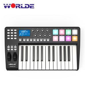 WORLDE PANDA25 USB-MIDI-Keyboard-Controller mit 25 Tasten und 8 Hintergrundbeleuchtete RGB-Auslöser mit USB-Kabel