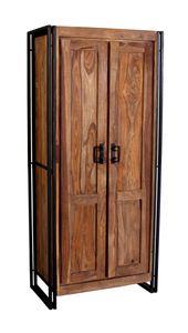 SIT Möbel Dielenschrank   2 Türen, 3 Böden innen, 1 Kleiderstange   Akazie natur   Altmetall antikschwarz   B 80 x T 45 x H 180 cm   09264-01   Serie PANAMA