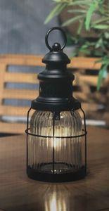 LED Laterne T 9500 Technoline Windlicht Maritim Antik Metall schwarz Glas