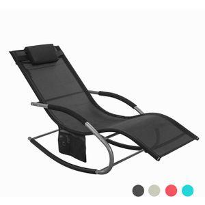 SoBuy Gartenliege Schaukelstuhl garten relaxliege mit Seitentasche OGS28-SCH