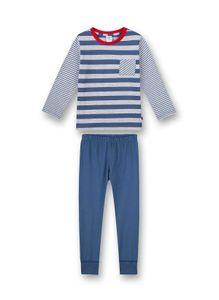 Sanetta Jungen Schlafanzug Set - lang, Kinder, 2-tlg. Streifen, 92-140 Blau 104