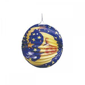 tib lampion Mond/Sterne 25 cm Papier blau/gelb