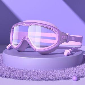 Lila - Kinder Schwimmbrille Schwimmbrille Großer Rahmen wasserdicht Anti Nebel Jungen und Mädchen Taucherbrille Tauchausrüstung