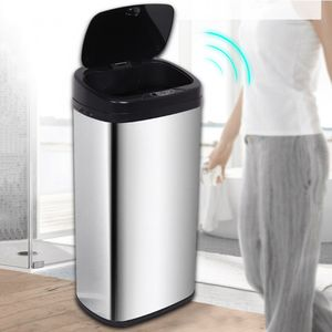 42L Mülleimer mit Sensor Automatik Abfalleimer Mülltrennsystem Abfallbehälter Kücheneimer Edelstahl Papierkorb 34×24.5×73cm
