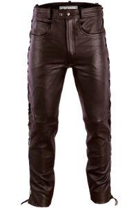 Herren Lederhose lederjeans bikerjeans jeans hose aus echtleder seitlich geschnürt, Größe:50/M, Farbe:Dunkelbraun