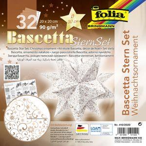 """folia Faltblätter Bascetta-Stern """"Ornament 1"""" 200 x 200 mm 32 Blatt weiß kupfer"""