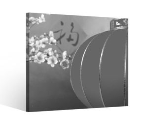 Leinwandbild 1Tlg Kirsche rot Baum Blumen Lampe China japanisch Garten Schwarz weiß Leinwand Leinwandbilder Bild Bilder 9V903, BxH Format:80x80cm