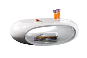 SalesFever Couchtisch oval | Hochglanz lackiert | Fiberglas | B 100 x T 70 x H 32 cm | weiß