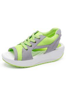 Frau Abtel Bequeme Keile Mode Einzelschuhe Hohle Offene Zehen Runde Zehen,Farbe:Grün,Größe:38
