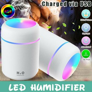 Weiß Luftbefeuchter LED Ultraschall Duftöl Aroma Diffuser Humidifier Diffusor 300ML USB Aufladen