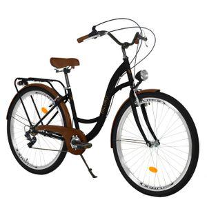 Milord Komfort Fahrrad Damenfahrrad, 26 Zoll, Schwarz-Braun, 7 Gang Shimano