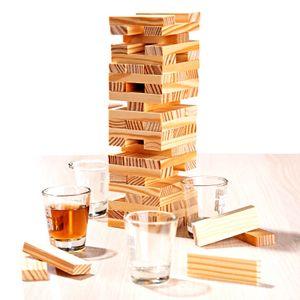 Trinkspiel Wackelturm Mit 60 Holz Bauklötzen und 4 Shotgläsern Trink Spiel Turm Partyspiel für Erwaschsene