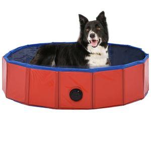SJsee Hundepool Faltbar Rot 80×20 cm PVC