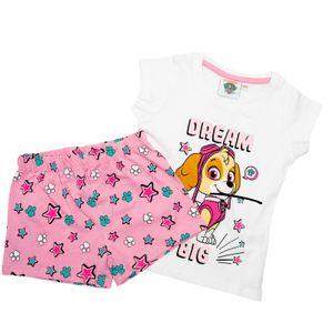 PAW PATROL - Mädchen Shorty Set - T-Shirt und Hose - Schlafanzug - Motiv 2020 - Rosa Weiß, Größe:122/128