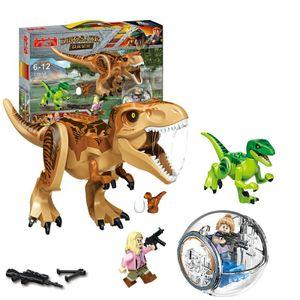 Großes Jurassic Park Set Spielzeug Rex Indominus Dinosaurier Figur Bausteine,Tierfiguren,77058