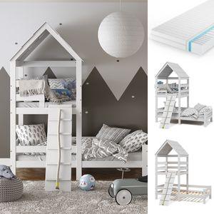 VitaliSpa Kinderbett Teddy 90x200cm mit Matratze Spielbett Jugendbett Spielturm weiß
