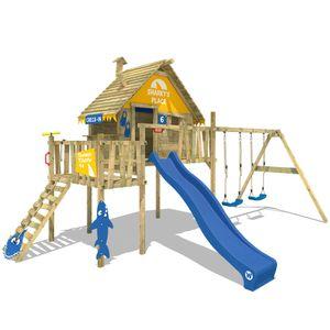 WICKEY Spielturm Klettergerüst Smart Resort mit Schaukel & blauer Rutsche, Stelzenhaus mit Kletterleiter & Spiel-Zubehör