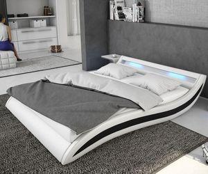 Bett Adonia Weiss Schwarz 140x200 cm mit LED Beleuchtung Polsterbett