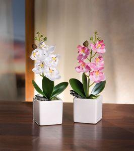 2er Deko Orchidee im Topf Kunst Blume Textil Blüte Tisch Fenster