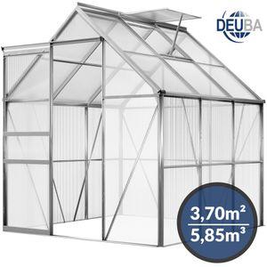 Gardebruk Aluminium Gewächshaus 3,7m² 190x195cm Treibhaus Gartenhaus Frühbeet Pflanzenhaus Aufzucht 5,85 m³