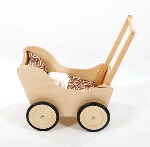 Hochwertiger Holz Puppenwagen / Lauflernwagen inkl. Bettset, Farbe:Hans im Glück Natur