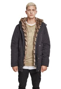 Urban Classics Hooded Faux Fur Parka TB2431, color:black, groesse herren:M
