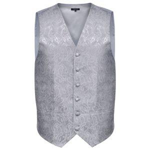 Herren Paisley-Hochzeitswesten-Set Größe 50 Silber