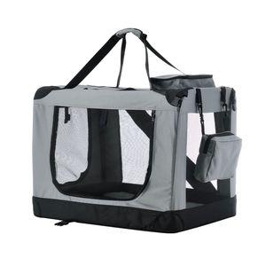 Juskys Hundetransportbox Lassie L (grau) faltbar - 50 x 70 x 52 cm - Reisebox mit Decke, Tasche & Griffen – Stoff Transportbox für Hunde