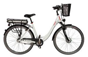 Telefunken E-Bike RC 657 Damen 28 Zoll, Elektrofahrrad Alu in Weiß, 7-GG-Shimano Nabenschaltung, mit Fahrradkorb, Farbe Weiß
