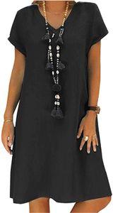 Geblümtes Kleid Damen,Leinenkleider Damen Große Größen,Boho Retro Minikleid V-Ausschnitt Kurzarm Sommerkleider,Schwarz XXL