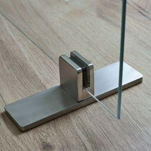 Edelstahl Aufsteller Spuckschutz Tischklemme Glashalter Klemmhalter Tischaufsteller Glas Plexiglas Acryl Glasplatten Halter eckig mit Fuß 50x40mm Glasklemme