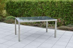MERXX Gartentisch Esstisch FERRARA, Edelstahl rostfrei, Tischplatte Glas, Maß 150x90cm