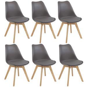 Set Esszimmerstühle AARHUS, mit Beinen aus Massiv-Holz, Stückzahl:6-er SET, Farbe:grau / eiche