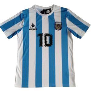 Maradona Messierique Terme, Fußballtrikot丨L, Argentinien 1986 Maradona Nr. 10 Trikot Retro Fußball Trikot-Hellblau
