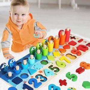 Montessori Lernspielzeug, Kleinkind Angeln Spiel Spielzeug, Kinder Vorschule Mathe Sortieren Stapeln Anzahl Zählen Lernen Spiel Holzblöcke Puzzle