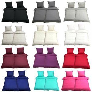 Bettwäsche 135x200 Mikrofaser Uni Deckenbezug Bettbezug Garnitur Set 2-4 telig , Farbe:Beige, Anzahl an Teilen:4 - teilig
