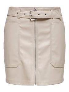 Damen JDY Leder Rock Coated Zip Kunstleder Minirock JDYALASKA Faux Leather Skirt, Farben:Beige, Größe:34