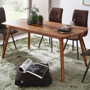 WOHNLING Esszimmertisch WL5.572 Holz 120x77x60 cm Sheesham Massivholz Tisch | Designer Küchentisch Holz | Massiver Holztisch Rustikal | Speisetisch Massives Echt-Holz Modern | Großer Esstisch